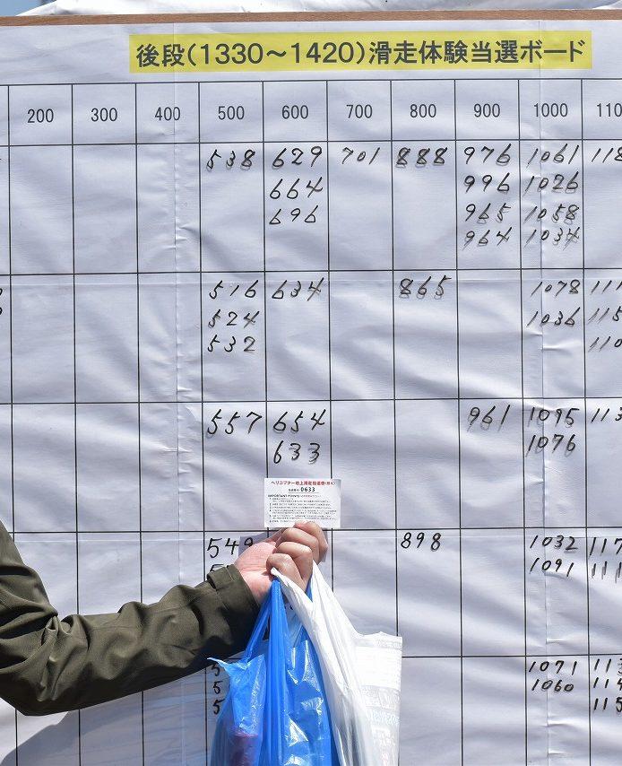 チヌーク体験滑走搭乗の抽選結果