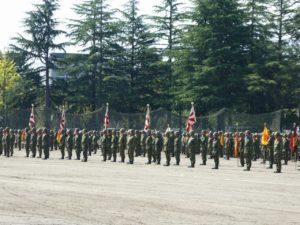 仙台駐屯地の部隊整列