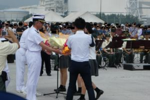 相馬港寄港の歓迎式典